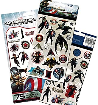 Avengers Captain America Stickers & Tattoos Party Favor Pack (60 ...