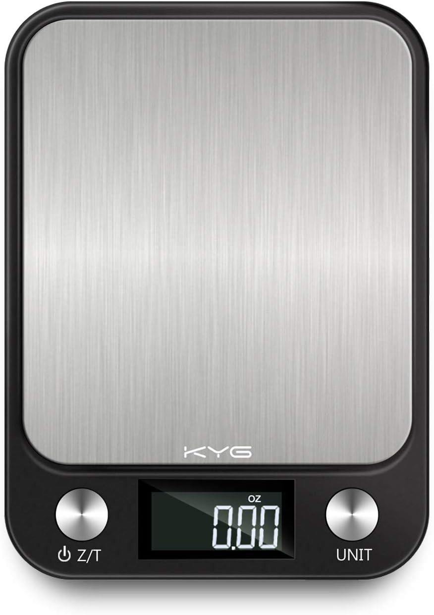 KYG Báscula de Cocina Digital 10kg/1gr, Balanza de Alimentos Medicíón con Pantalla LCD Retroiluminada, de Acero Inoxidable
