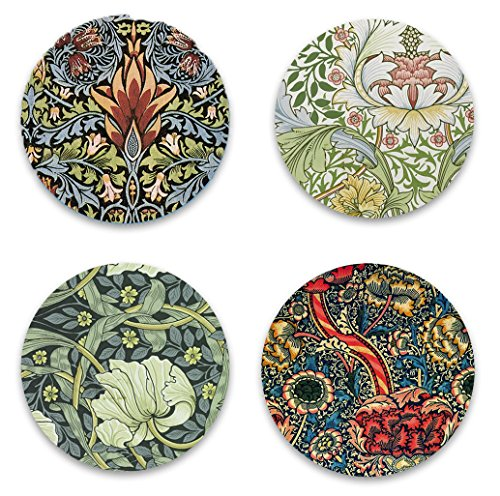 "Refrigerator Botanical William Morris Set of 4 Round 2.25"" Fridge Magnets featuring Classic Floral Design Paintings for Kitchen Art, Office Decor, Flower Gift for Kids, Men & Women - Made in USA (Wine Gift Baskets North Carolina)"