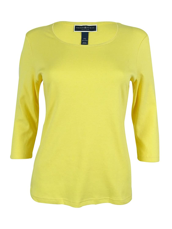 Karen Scott Plus Size Three Quarter Sleeve Scoop Neck Cotton Tee Blue