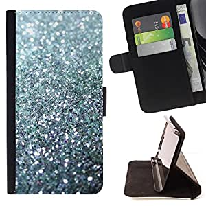BullDog Case - FOR/Apple Iphone 6 PLUS 5.5 / - / glitter silver sparkling bling platinum /- Monedero de cuero de la PU Llevar cubierta de la caja con el ID Credit Card Slots Flip funda de cuer