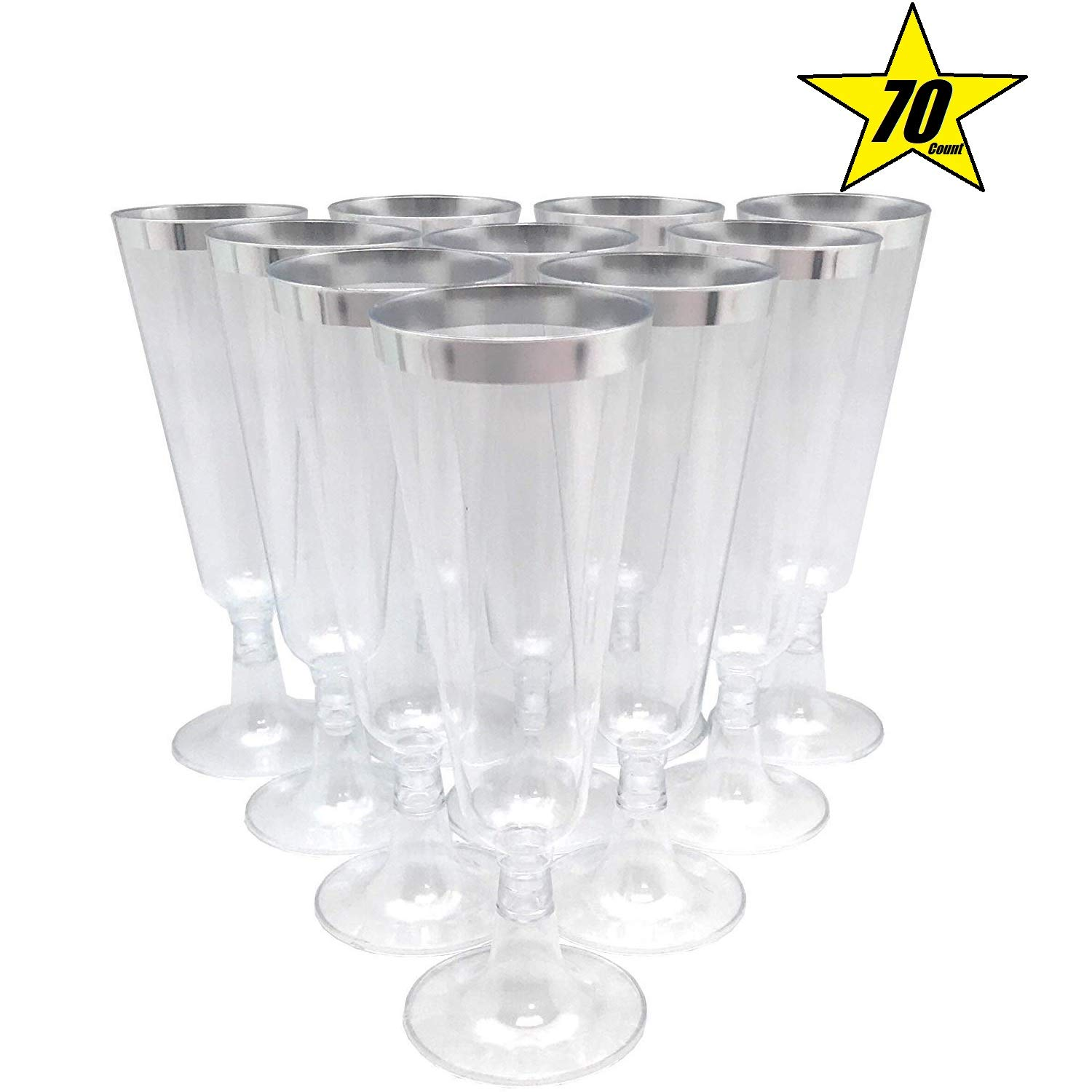 70pc Glitter Plastic Classicware Glass Like Champagne Wedding Parties Toasting Flutes Party Cocktail Cups (Silver Rimmed)