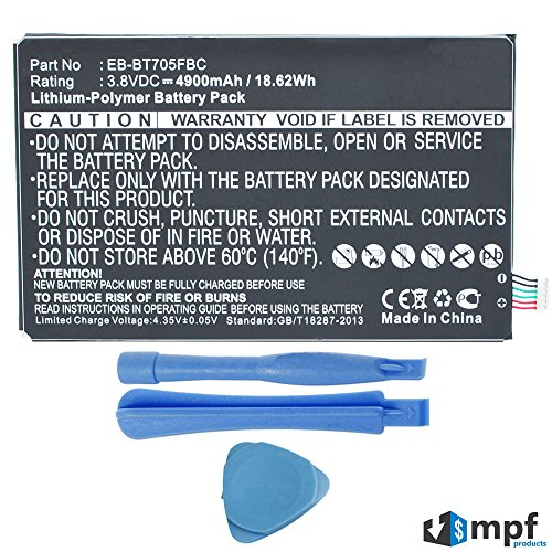 MPF Products 4900mAh EB-BT705FBU, EB-BT705FBC, EB-BT705FBE Battery Replacement Compatible with Samsung Galaxy Tab S 8.4