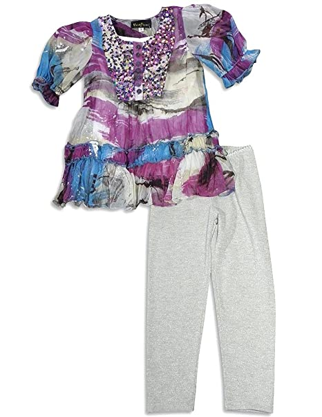 94bb19a68d4a Amazon.com: Hannah Banana by Sara Sara - Little Girls' 3 Piece Short Sleeve  Legging Set, Blue, Purple, Silver 26439-6X: Clothing