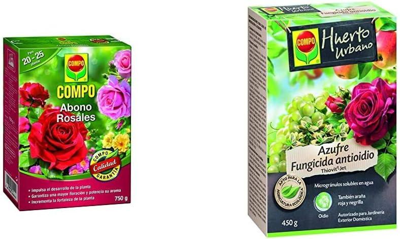 Compo Abono para Rosales Apto también para Otras Plantas de Flor, Envase estanco, Granulado, para 20-25 Plantas, 750 g, 2655102011 + Azufre fungicida Anti oídio, Microgránulos solubles en Agua