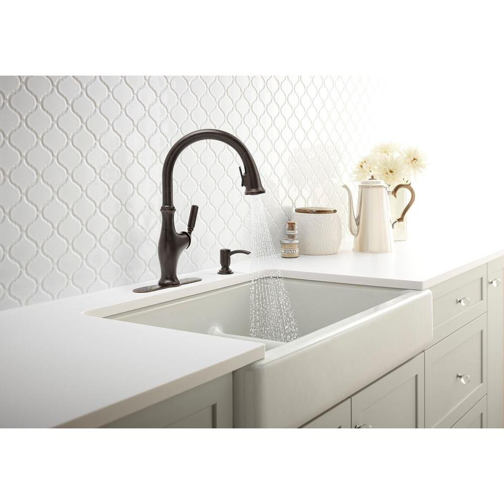 Kohler Worth Pull-Down Kitchen Faucet with Soap/Lotion Dispenser Oil ...