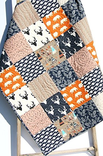 Rustic Boy Quilt Modern Baby Bedding Arrows Woodland Deer Bear Brown Tan Navy Blue Orange Buck Teepee Feathers Handmade Crib or Toddler Size Aztec Nursery Crib Quilt