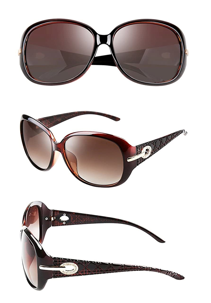 d59e7b403d15 ATTCL Women Polarized UV400 Sunglasses Fashion Plaid Oversized Sunglasses