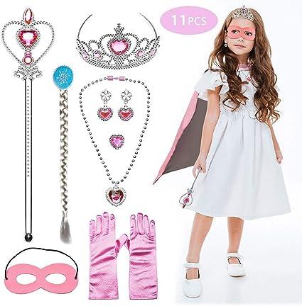 Fiestas Pulsera Collar Halloween Tacobear 18 Piezas Conjunto con Accesorios de Princesa Princesa Disfraz Accesorios Contiene Corona Pendientes para Ni/ña Cumplea/ños Fiesta Navidad Anillo
