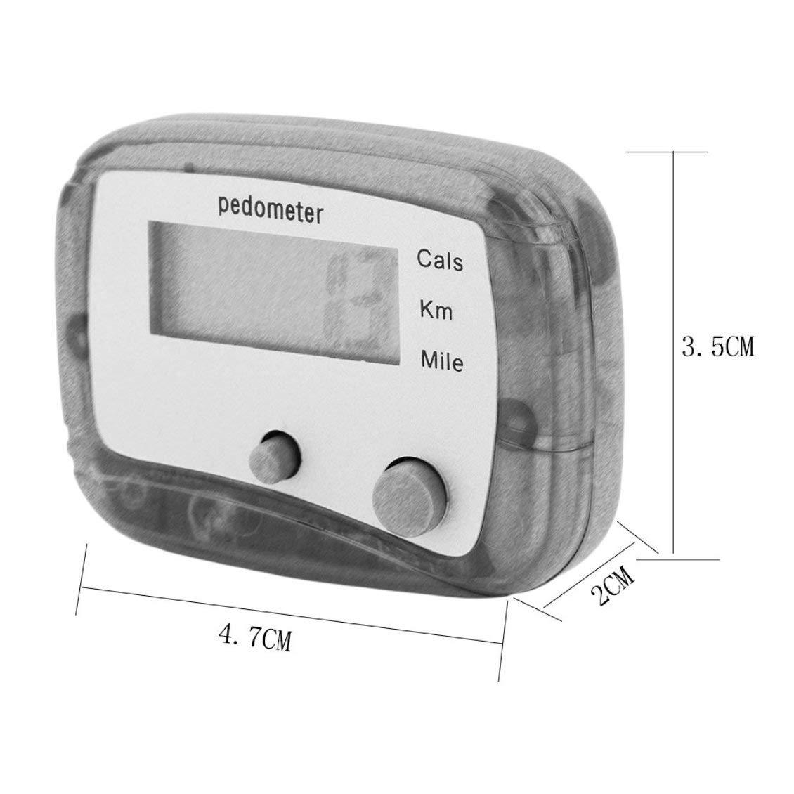 Pgige Leichter G/ürtelclip f/ür einfache Handhabung Mini-Digital-LCD-Schrittschritt-Schrittz/ähler zu Fu/ß Entfernungsmesser ABS bis zu 99999 Schritte
