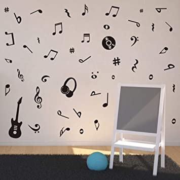 Amazon.com: Adhesivo de pared para guitarra, diseño de notas ...