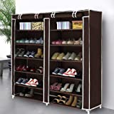 Styleys Multipurpose Portable Folding Shoe Racks for Home Organisers with Waterproof cover-12 Tiers (Brown)