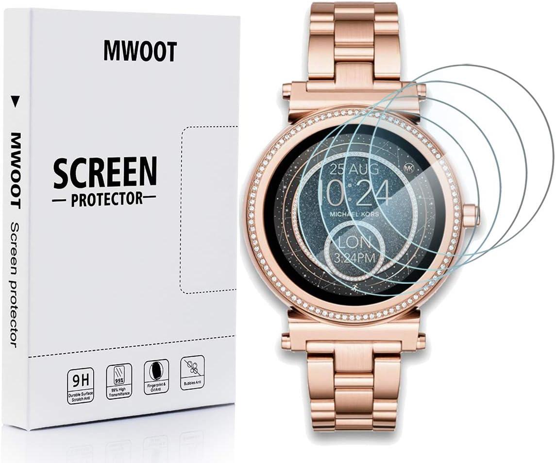 MWOOT Cristal Templado Compatible con Reloj Michael Kors Access Sofie Gen 2/MKT5022/MKT5036 (4 Unidades), Protector Pantalla Vidrio Proteccion 9H Pelicula Anti-arañazos