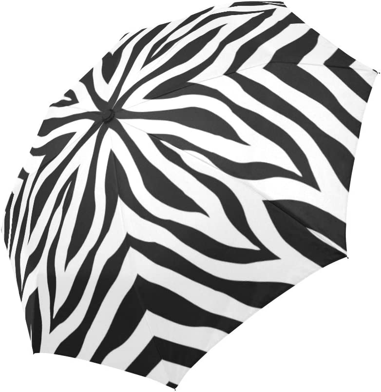 InterestPrint Custom Black/&White Dog Anti Sun UV Foldable Travel Compact Umbrella