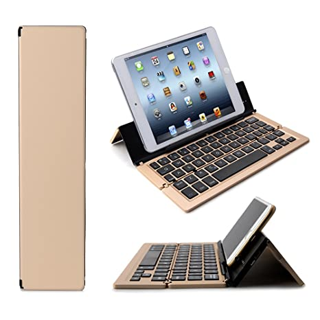 iEGrow Foldable Bluetooth Keyboard, F18 Universal Portable Bluetooth 3.0 Wireless Keyboard with Kickstand Holder for