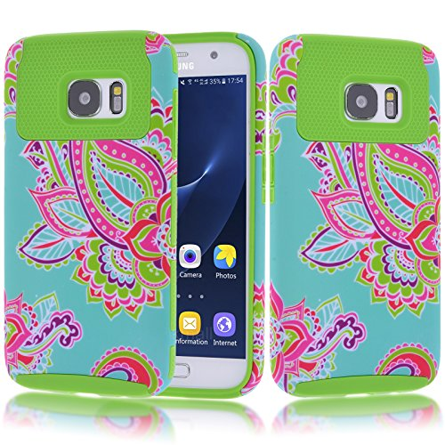 Galaxy S7 Case, Kmall 2in1 High Impact Resistant Hybrid Dual Layer Heavy Duty Full-body Matte Rugged Hard Protective Skin Shell Cover Totem Tribe Floral Pattern For Samsung Galaxy S7 [Green]