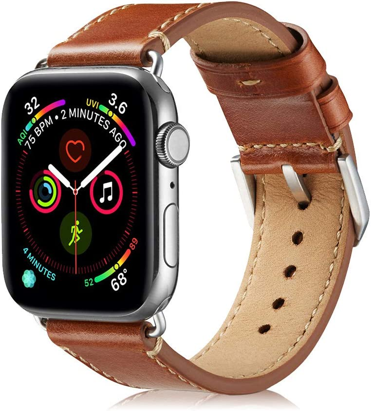 Ricele Compatible with Apple Watch Band Leather 42mm 44mm, Mens Apple Watch Leather Band Replacement Band for Apple Watch Series 4 Series 3 Series 2 Series 1 Sport Edition (Brown, Medium)