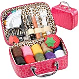 PU Leather Bag Sewing Kit OHYEYE, Sewing Supplies with 85 Sewing Accessories Kit,Singer Sewing Basket,Mini Sew Basket for Adults,Beginner,Travel and Craft Gift
