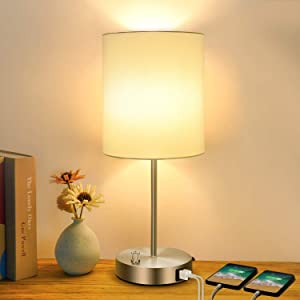 Table Lamp with 2 USB Ports, Fully Stepless Dimmable Bedside Nightstand Desk Lamp, AC Power Outlet and 60W Replace 2700K LED Edison Bulb Included, Perfect Décor for Bedroom Living Room Nursery Dorm