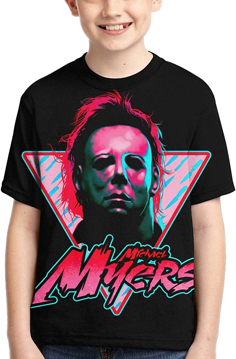 IHHASD Anime Boys Tees Horror Movie Michael Myers Halloween Child Short Sleeve T-Shirt