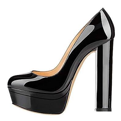 912359bfd4db Onlymaker Women s Double Platform Round Toe Block Chunky High Heels Pumps  Sandals Black US5