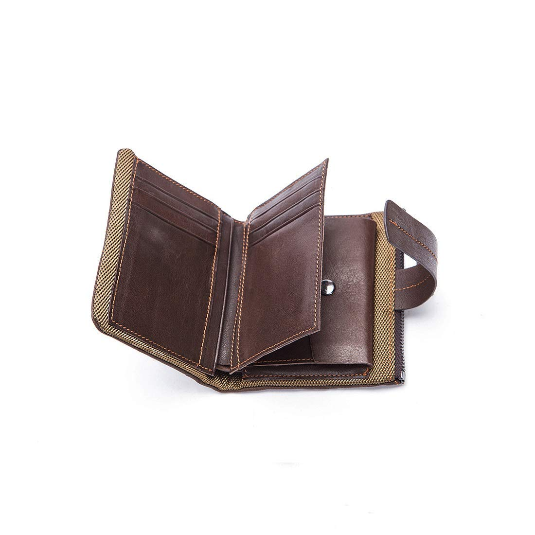 CEFULTY Short Wallet Coin Purse Mini Wallet Mens Double Fold Wallet Zipper Wallet Popular Leather Mens Business Card Holder Color : Black