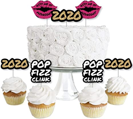Dessert Cupcake Toppers New Years Eve Set of 24 New Years Eve 2020 Party Clear Treat Picks Silver