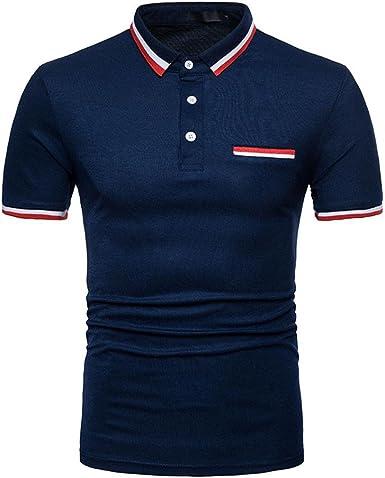 ❤️OHQ Camisa De Blusa De Hombre Camiseta De Polo De Solapa ...