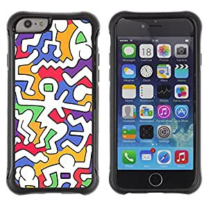 WAWU Funda Carcasa Bumper con Absorci??e Impactos y Anti-Ara??s Espalda Slim Rugged Armor -- art modern colorful white weird alien -- Apple Iphone 6 PLUS 5.5