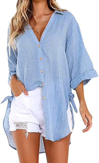 Blusas para Mujer, Casual De Manga Larga Camisa con Botones Moda Color SóLido Camisas TúNica Top De Solapa Dama Blouse con Cuello En V Slim Fit Camiseta De Manga Larga Blanco/Azul: Amazon.es: