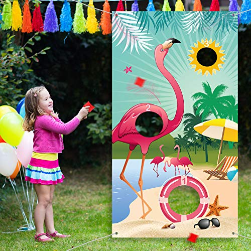 Summer Flamingo Toss Games with 3 Nylon Bean Bags, Summer Flamingo Backdrop Toss Games Banner for Flamingo Theme Party Toss Game Decoration]()