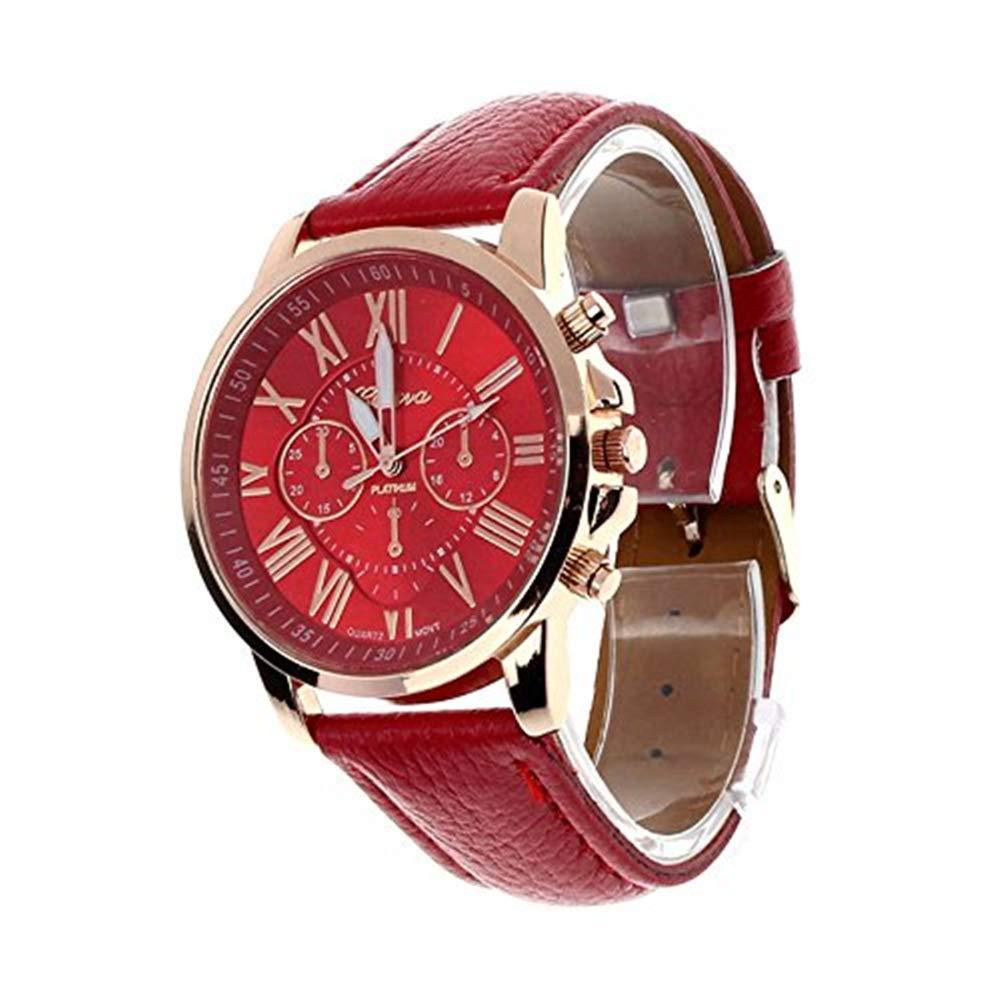 Triskye Womens Analog Quartz Watches Business Casual Classic Luxury Geneva Roman Numerals Faux Leather Strap Band Round Wrist Watch Ladies Wristwatch Bracelet for Girls