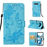 Strap Wallet Case for Samsung Galaxy S10,Aoucase Cute Butterfly Flower Painted Magnetic PU Leather Card Slot Kickstand Soft Slicone Flip Case with Black Dual-use Stylus,Blue