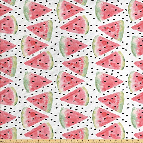 (Ambesonne Watercolor Fabric by The Yard, Pattern of Juicy Pieces Watermelon with Seed Tropical Summer, Decorative Fabric for Upholstery and Home Accents, 1 Yard, Coral Pale Green Black)