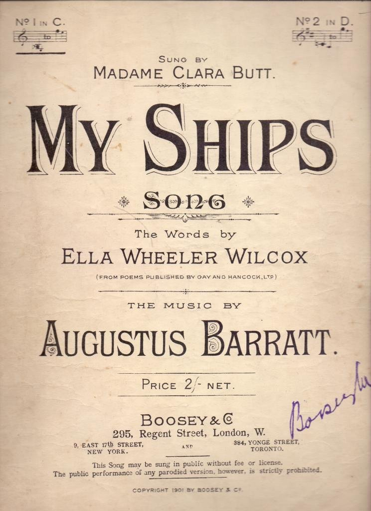 My Ships  Song, the words by E  W  Wilcox, etc: Amazon co uk