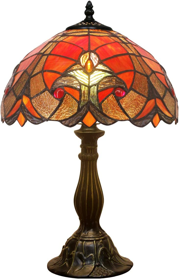 Tiffany Lamps Red Liaison Stained Glass Table Lamps Desk Light Height 18 Inch for Living Room Bedroom Antique Dresser Coffee Table Beside Bookcase S160R WERFACTORY