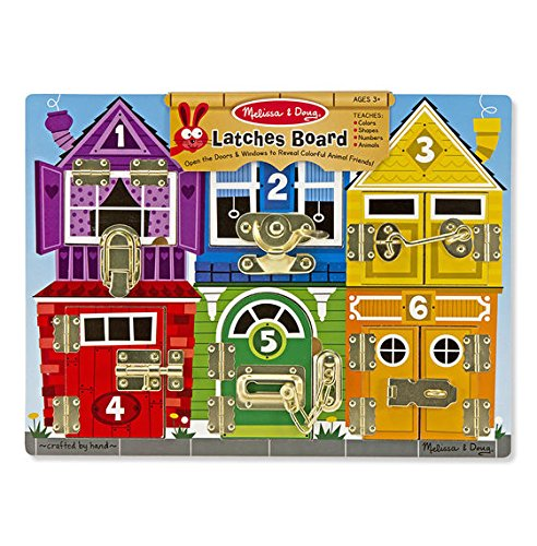 Melissa & Doug Latches Wooden Activity Board Dollhouse Toy Box