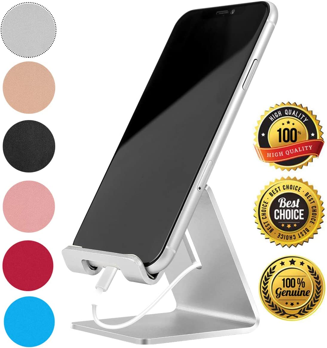 Desk Cell Phone Stand Holder Aluminum Phone Dock Cradle Compatible with Switch, All Android Smartphone, for iPhone 11 Pro Xs Xs Max Xr X 8 7 6 6s Plus 5 5s 5c Charging, Accessories Desk (Silver) …