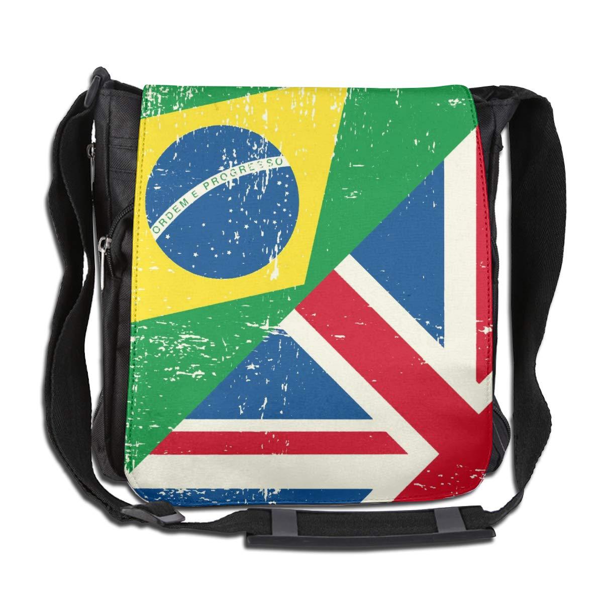UK And Brazil Flag Crossbody Shoulder Bag Durable Casual Daily Messenger Bag Satchel School Bag For Women And Men