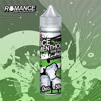 Romance e Liquid Vape Juice 10 fantásticos sabores ricos 50ML 0MG 50/50 PG/VG, sin nicotina (ice Menthol)