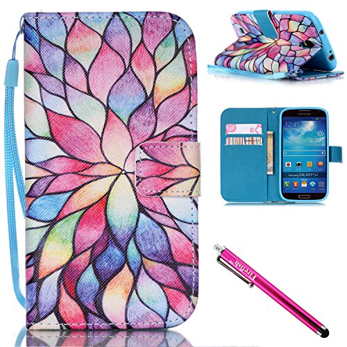 Galaxy S4 Case, Galaxy S4 Wallet Case, Firefish [Card Slots] [Kickstand] Flip Folio Wallet Case Synthetic Leather Shell Scratch Resistant Protective Cover for Samsung Galaxy S4 i9500-Lotus (Synthetic Visor)