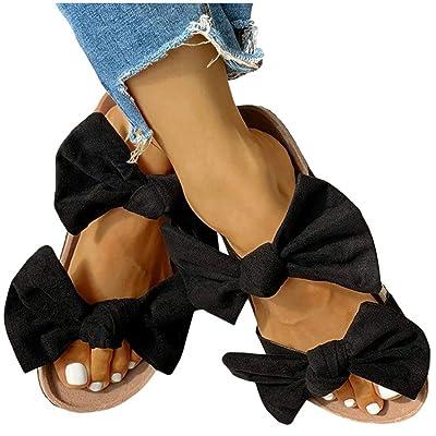 Sandals for Women Flat, Women's 2020 Fashion Bow Comfy Platform Sandal Shoes Summer Beach Travel Fashion Slipper Flip Flops at Women's Clothing store
