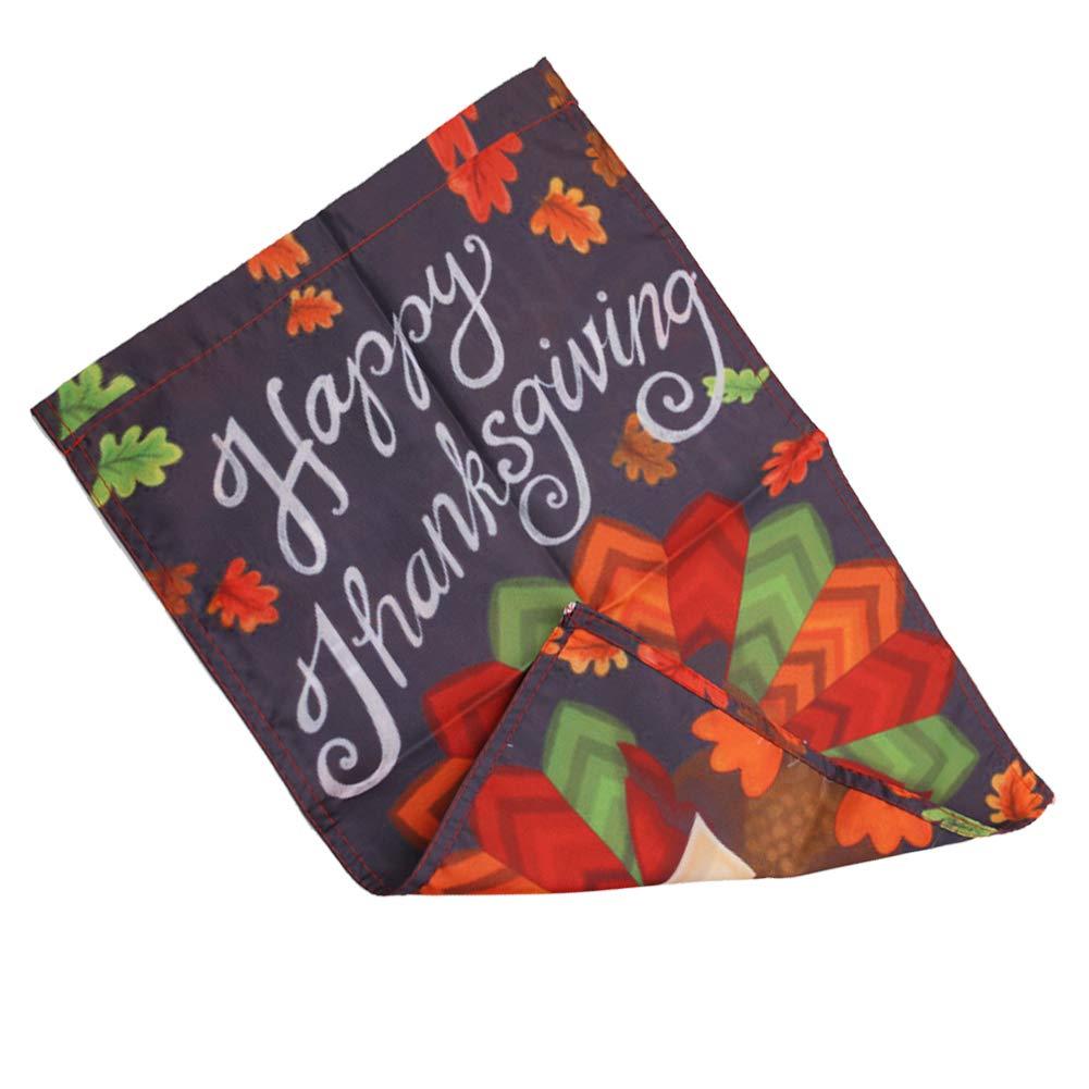 Amor Colorful Turkey Decorative Double Sided Garden Flag 12.5 x 18 Inch, Thanksgiving Holiday Decor Garden Flag