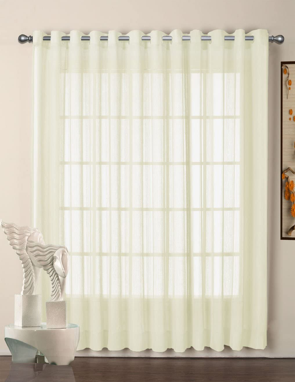 R.LANG Grommet Top Sheer Curtains Voile Window Panel 1 Pair Light Beige W52 x L108 Set of 2 Panels