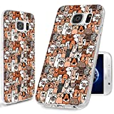 S7 Case,Galaxy S7 Case, ChiChiC [Cute Series] Full Protective Case Slim Flexible Soft TPU Gel Rubber Art Cases Cover Skin for Samsung Galaxy S7,Cute Cartoon Animal Doodle Brown Dogs Cats Smile pet