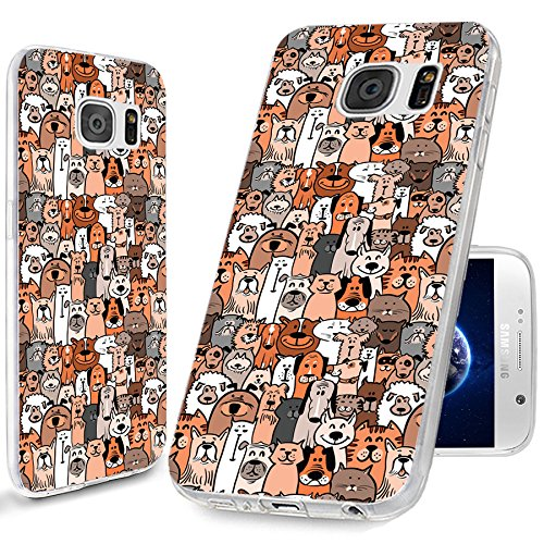 S6 Case, Samsung S6 Case,Galaxy S6 Case , ChiChiC [Cute Series] Full Protective Art Slim Flexible Soft TPU Rubber Cases Cover for Samsung Galaxy S6 ,cute animal doodle brown dogs - Popular 2015 Most Brands Designer