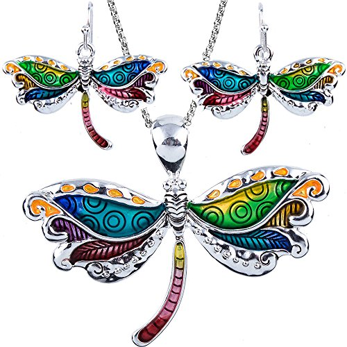 (DianaL Boutique Stunning Dragonfly Pendant Necklace and Earrings Set with 24