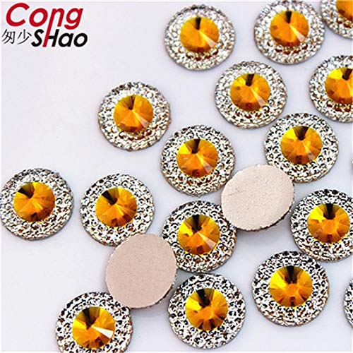 Pukido 100PCS 10/12/14mm Colorful Round Flatback Resin Rhinestone Applique Stones and Crystals DIY Costume Button YB495HB - (Color: Yellow, Size: 12mm)