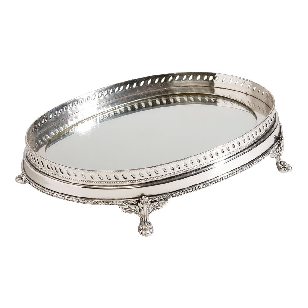 Ethan Allen Oval Mirrored Silver Tray