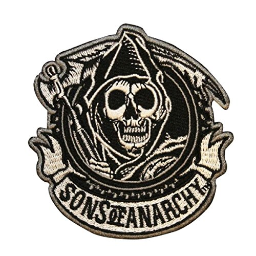 (Sons Of Anarchy SOA Reaper Circle Biker Embroidered Iron On Applique)